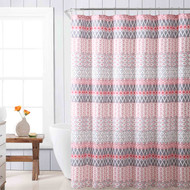 Fabric Shower Curtain for Bathroom White Gray and Coral with Geo Stripe Design 72IN x72 in