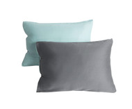 Set of Two Reversible Gray and Blue Standard Size Pillowcase Sham Covers 100% Cotton