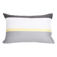 "Set of Two White Gray and Yellow Pillowcase Sham Covers Stripe Design 100% Cotton (Standard 20"" x 26"")"