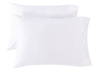 Set of Two Pure White Standard Queen Size Pillowcase Sham Covers 100% Cotton T400