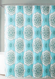 Teal Blue and Green Medallion Design PEVA Shower Curtain Liner Odorless, PVC and Chlorine Free, Biodegradable, Mildew Free, Eco-Friendly Size 72in x 72in (Bedallion - Teal)
