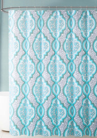 Gray and Aqua Blue Medallion Design PEVA Shower Curtain Liner Odorless, PVC and Chlorine Free, Biodegradable, Mildew Free, Eco-Friendly Size 72in x 72in