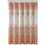 Bohemian Style Fabric Shower Curtain for Bathroom in Coral Taupe White 72IN x72 IN