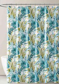 Teal White and Gold Tropical Leaf Design PEVA Shower Curtain Liner Odorless, PVC and Chlorine Free, Biodegradable, Mildew Free, Eco-Friendly Size 72in x 72in