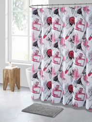 Pink Black and White Makeup Print PEVA Shower Curtain Liner Odorless, PVC and Chlorine Free, Biodegradable, Mildew Free, Eco-Friendly Size 72in x 72in