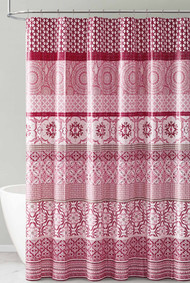 Red Pink and White PEVA Shower Curtain Liner Odorless, PVC and Chlorine Free, Biodegradable, Mildew Free, Eco-Friendly Size 72in x 72in