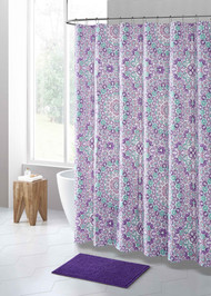 Purple and Seafoam Kaleidoscope Floral Design PEVA Shower Curtain Liner Odorless, PVC and Chlorine Free, Biodegradable, Mildew Free, Eco-Friendly Size 72in x 72in