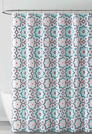 Coral Aqua Black and White Kaleidoscope Design PEVA Shower Curtain Liner Odorless, PVC and Chlorine Free, Biodegradable, Mildew Free, Eco-Friendly Size 72in x 72in