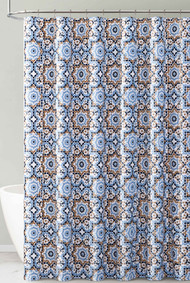 Navy Gold Blue Kaleidoscope Design PEVA Shower Curtain Liner Odorless, PVC and Chlorine Free, Biodegradable, Mildew Free, Eco-Friendly Size 72in x 72in