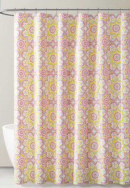 Gray Pink and Yellow Kaleidoscope Design PEVA Shower Curtain Liner Odorless, PVC and Chlorine Free, Biodegradable, Mildew Free, Eco-Friendly Size 72in x 72in