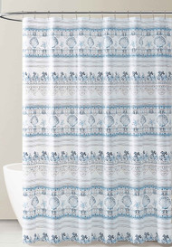 Blue White and Gray Stripe Nautical Coastal Design PEVA Shower Curtain Liner Odorless, PVC and Chlorine Free, Biodegradable, Mildew Free, Eco-Friendly Size 72in x 72in