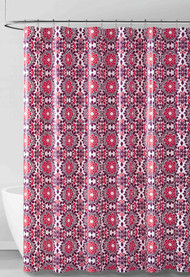 Red Purple and White Medallion Design PEVA Shower Curtain Liner Odorless, PVC and Chlorine Free, Biodegradable, Mildew Free, Eco-Friendly Size 72in x 72in
