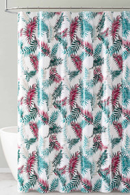 Green Red and White Tropical Leaf Design PEVA Shower Curtain Liner Odorless, PVC and Chlorine Free, Biodegradable, Mildew Free, Eco-Friendly Size 72in x 72in