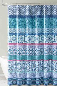 Teal Aqua and White PEVA Shower Curtain Liner Odorless, PVC and Chlorine Free, Biodegradable, Mildew Free, Eco-Friendly Size 72in x 72in