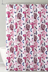 Dark Purple and Magenta Floral Design PEVA Shower Curtain Liner Odorless, PVC and Chlorine Free, Biodegradable, Mildew Free, Eco-Friendly Size 72in x 72in