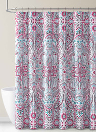 Fabric Shower Curtain for Bathroom Teal Magenta and Taupe Floral Design Design 72IN x72 IN