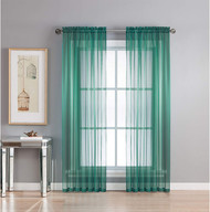 Grey Teal Sheer Voile Rod Pocket Curtain Panel Pair: Extra Wide 112 x 84 in.