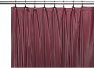 Burgundy Standard Size Magnetized Vinyl Shower Curtain. Resist Mold, Mildew and Bacteria
