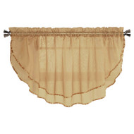 Sheer Voile Valance Curtain for Windows Size 54 in X 24 in Scalloped with Ribbon for Kitchens, Living Room, Dining Room, Bathroom, Bay Windows, Basement, Laundry Room (Caramel)