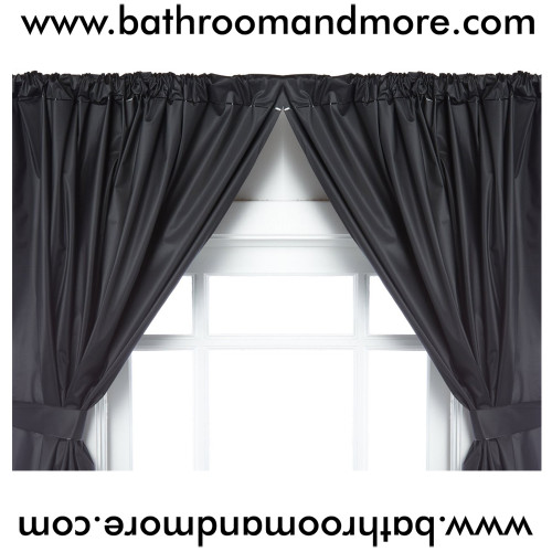 Black Vinyl 2 Panel Window Curtain