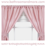 Rose vinyl double swag shower curtain.