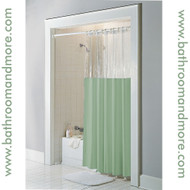 Green windowed vinyl shower curtain liner.