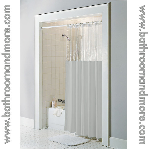 Vinyl Window Curtains For Bathrooms: Taupe Vinyl Windowed Shower Curtain Liner- Clear Top