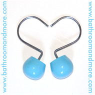 Blue Ceramic and Metal Shower Curtain Hooks