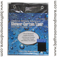 "Black Extra Heavy Duty 10 Gauge Vinyl Shower Curtain Liner 72""x72"""