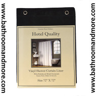 "Black Hotel Weight 8 Gauge Shower Curtain Liner 72""x72"""