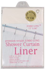 "Jumbo Long Super Clear Hotel Weight 8 Gauge Vinyl Shower Curtain Liner ""72x96"""