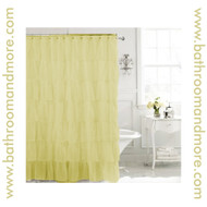 "Carmen Gold Voile Ruffled Gypsy Fabric Shower Curtain 70""x72"""