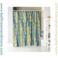 "Carmen Blue-Green Sand Voile Ruffled Gypsy Fabric Shower Curtain 70""x72"""