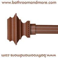 Brown Pedestal Finials Window Curtain Rod -Window Curtain Rings and Tie Back Hooks Sold Separately