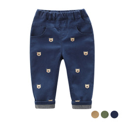 Cartoon Embroidered Bear Pants