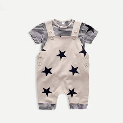 Two Piece Star Shirt & Overalls Set