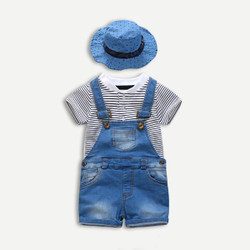 Three Piece Stripe Shirt & Denim Overalls Set