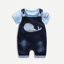 Two Piece Whale Romper & Overalls Set
