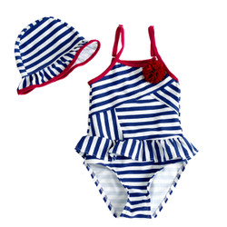 Two Piece Contrast Stripe Swimsuit