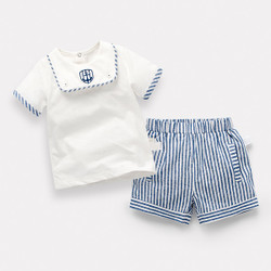 Contrast Lined Nautical Shirt & Shorts Set