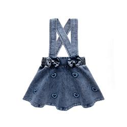 Washed Denim Skirt Overalls