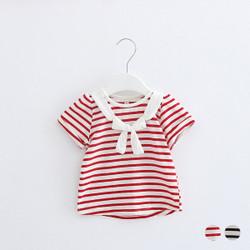 Stripe Bow Sleeve Top