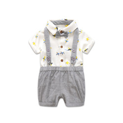 Two Piece Printed Polo Romper & Suspender Shorts Set