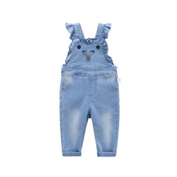 Cartoon Frill Washed Denim Overalls