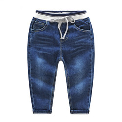 Contrast Band Dark Denim Jeans