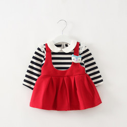 One Piece Collared Stripe Blouse & Dress Overalls