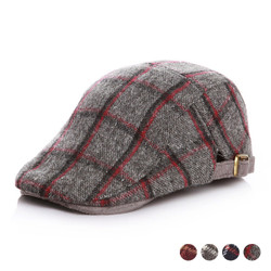 Checkered Wool Newsboy Cap