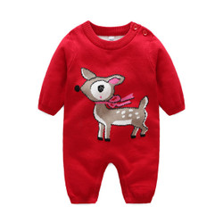 Cartoon Deer Warm Knit Romper