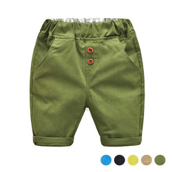 Elastic Waistband Button Short Pants