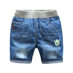 Elastic Waistband Pocket Denim Shorts